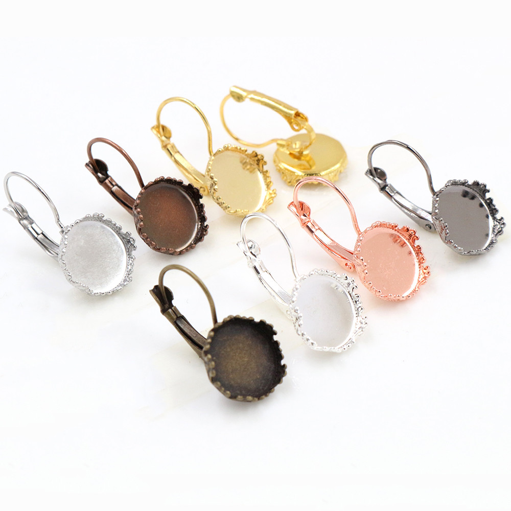 12mm 10pcs 7 Colors Plated Crown Style Earring Studs,Earrings Blank/Base,Fit 12mm Glass Cabochons,Buttons