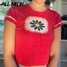 ALLNeon-ropa de calle de los 90, Tops cortos acanalados Tie Dye Y2K, estética gráfica, cuello redondo, camisetas rojas de manga corta, ropa de calle Vintage ajustada