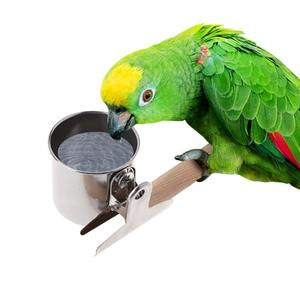 1 шт./2 шт., чашка для кормления попугая, нержавеющая сталь, кормушки для птиц, водная клетка, миски, зажим, держатель, подставка для птиц, Пожир...
