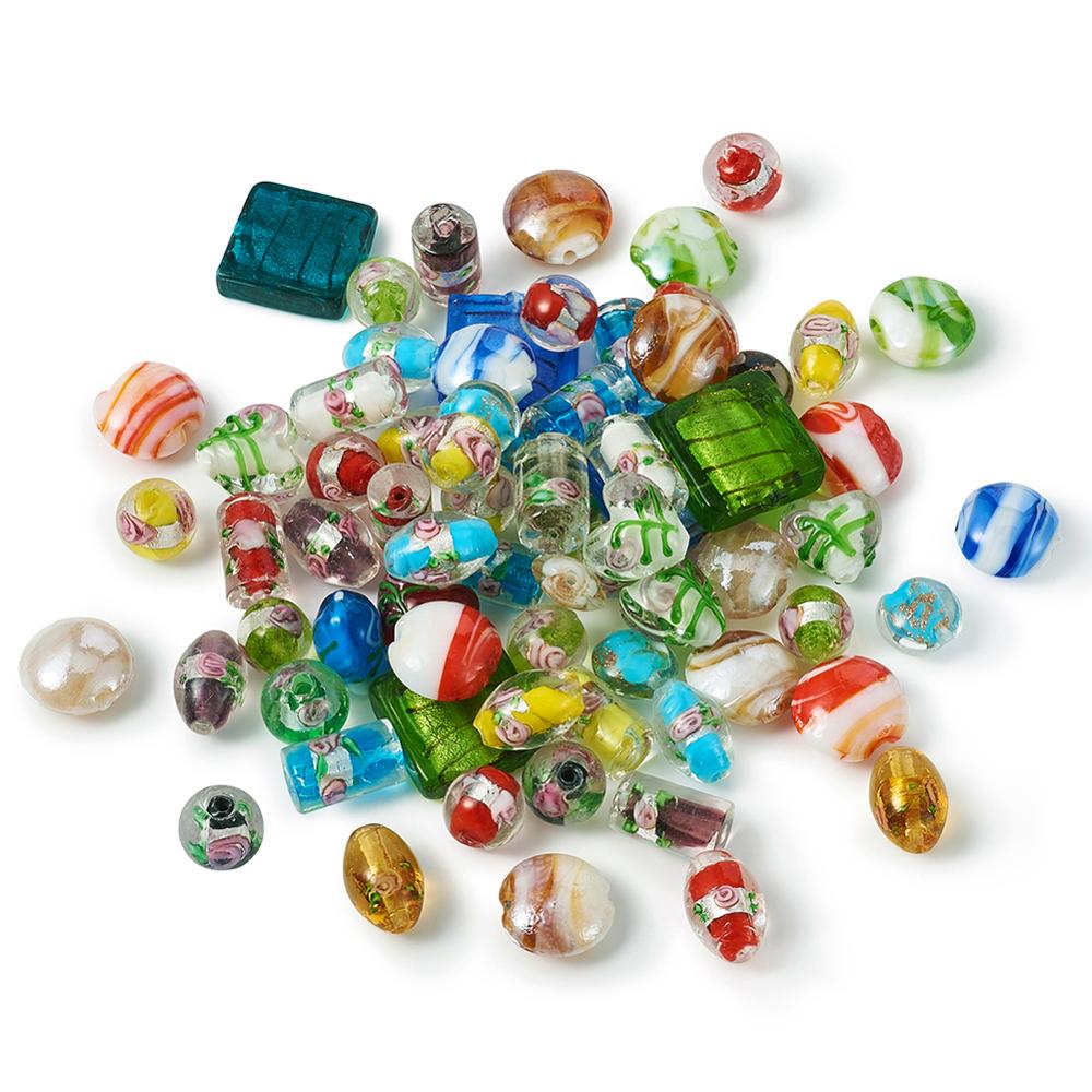 Wholesale 20PCS Mixed Flat Geometric Shape Millefiori Loose Spacer Beads Finding