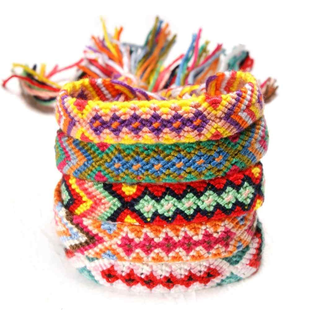 31 kolor czeski w stylu etnicznym ręcznie tkana lina bawełniana tęczowa bransoletka przyjaźni przyjaciele rodzina kochanek prezent