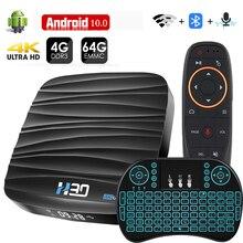Android TV Box 10 4GB 32GB 64GB 4K H.265 Media Player 3D วิดีโอ 2.4G 5 ghz WIFI บลูทูธสมาร์ททีวีกล่องทีวี