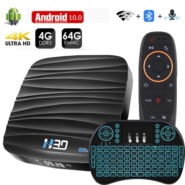 アンドロイド tv ボックス 10 4 ギガバイト 32 ギガバイト 64 ギガバイト 4 18k H.265 メディアプレーヤー 3D ビデオ 2.4 グラム 5 無線 lan 、ブルートゥース、スマート tv ボックステレビ受信機