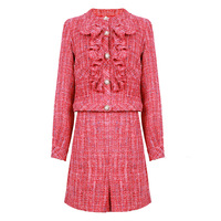 Luxury Tweed Skirts Suit Set Women Elegant Work Wear Pink Red Ruffles Cardigan Sets with Skirt Outfit Ladies Two piece Suits