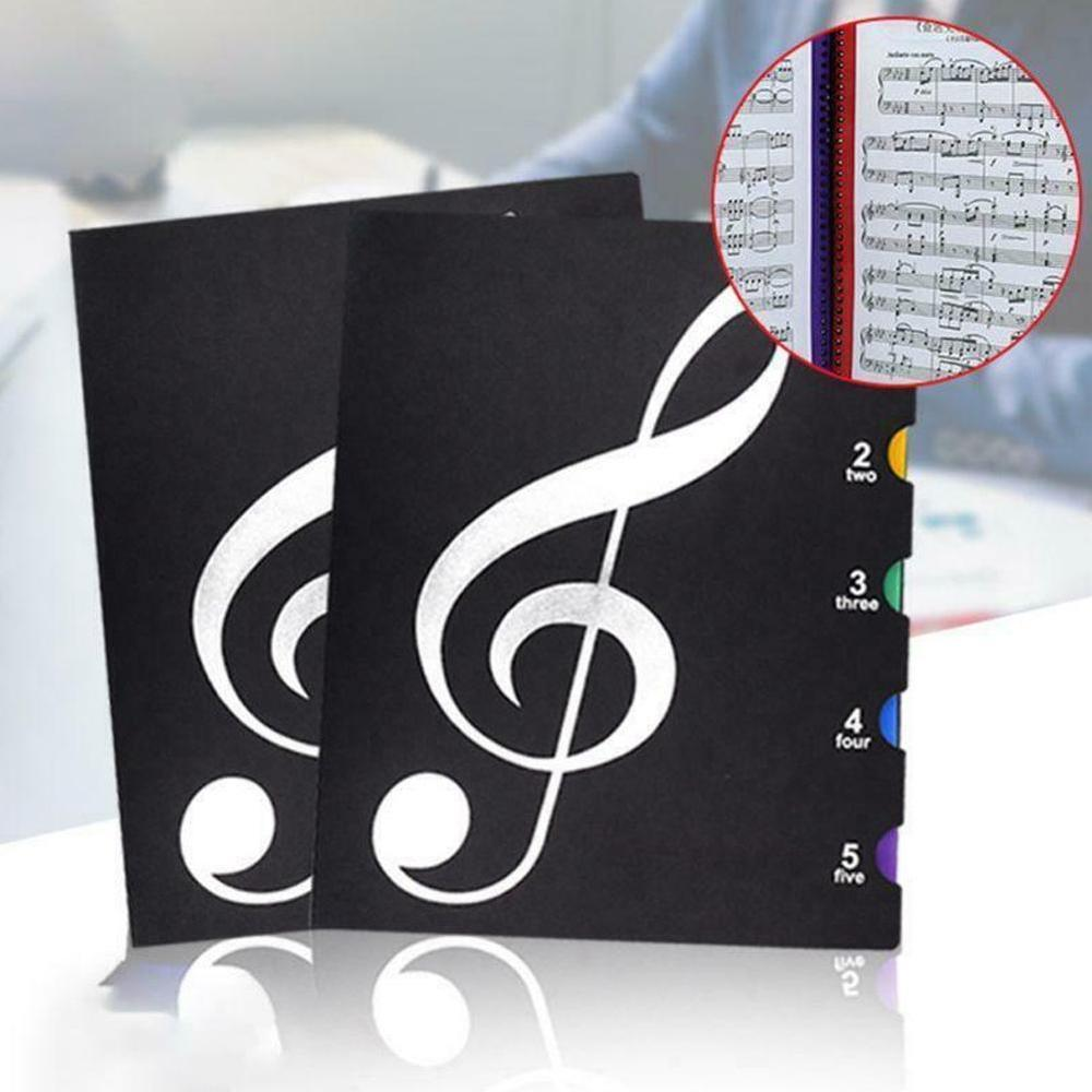 40 Sheets A4 Music Book Folders Piano Score Band Choral Insert-type Folder Music Supplies Waterproof File Storage Product