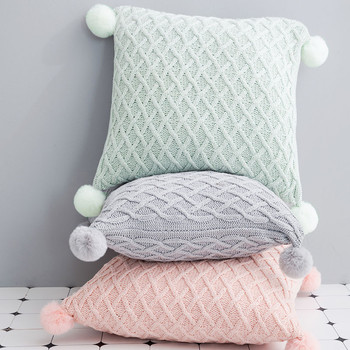 Pink Grey Cotton Plaid Knitted Blanket &Amp; Cushion Cover