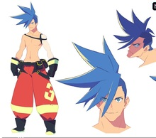 PROMARE Burning Rescue Galo Thymos Cosplay Wig Short Straight Blue Heat Resistant Synthetic Hair Anime Wigs (not styled)+Wig Cap