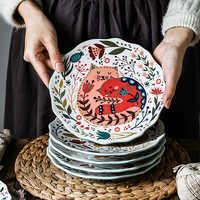 8 inch Colorful Cat Dinner Plate Under-glazed Ceramic Dinner Dishes Dessert Tray Flower Kitten Dinnerware Microwave Safe