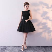 Robe Cocktail Ball Gown Short Prom Gowns 2019 Lace Appliques Beaded Corset Back Little Black Formal Party Dresses In Stock