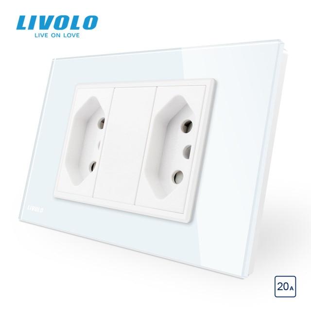 Livolo Brazilian/Italian Standard 2gangs 3 Pins 20A Socket,Glass panel Brazilian Plug,  C9C2CBR2 11/12