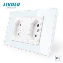 Livolo brezilyalı/İtalyan standart 2 çete 3 pin 20A soket, cam panel brezilyalı fiş, C9C2CBR2 11/12