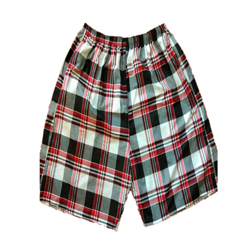 Lard-bucket Beach Shorts Cotton Plaid Loose-Fit Casual Large Size Trunks Hot Sales Hot Selling Booth Goods
