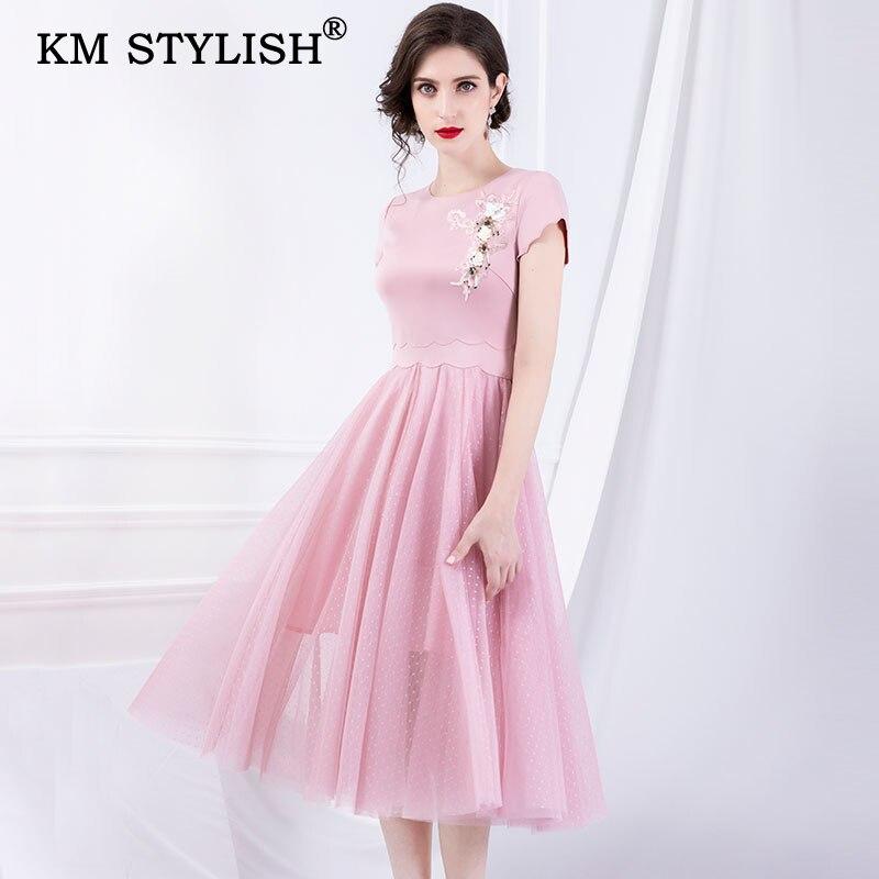 2019 nouveau début de l'automne femmes vêtements solide Patchwork perles broderie maille Slim tenue décontractée pour femme à manches courtes robe