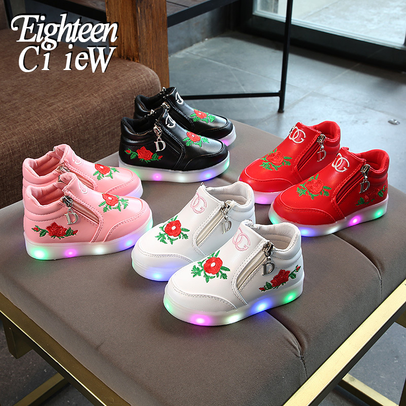 2019 New Flower Luminous Sneakers Led Children Shoes Boy Girl Glowing Tennis Kids Light Up Shoes For Girls Zapatillas Luces Nina