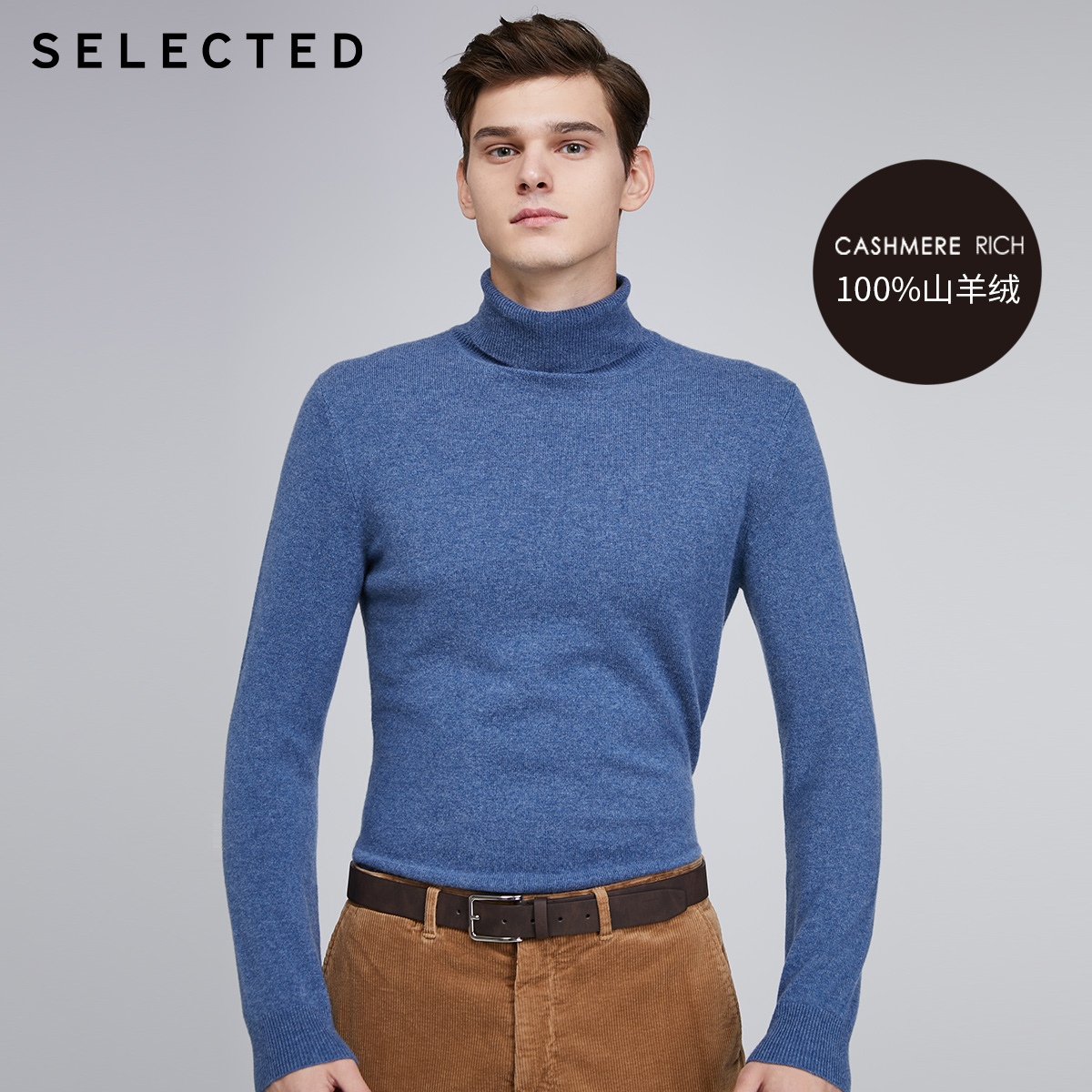 SELECTED Men's 100% Cashmere Turtleneck Sweater High-neck Pullover Knit Clothes S | 419424564