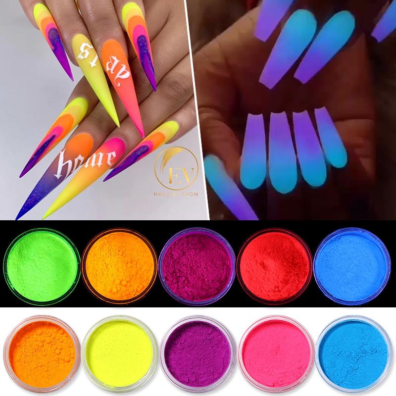 Объемный флуоресцентный светящийся порошок для ногтей, 10 г