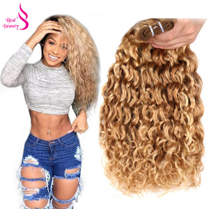 "Real Beauty Ombre Brazilian Water Wave P27/613 Two Tone Human Hair Extensions Weave Bundles Auburn Remy Hair 12""-24"" 1 Bundle(China)"