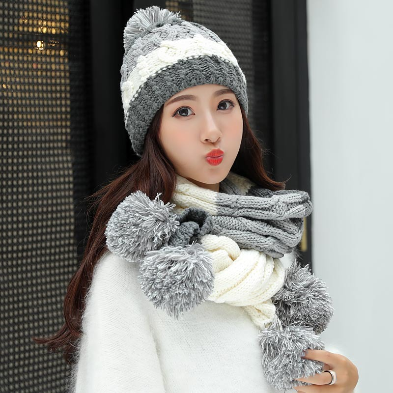 Women's Hat And Scarves Gloves Three Pieces Winter Hats For Women Scarf Glove Set Kitted Skuiless Beanie Wool Beanie Keep Warm