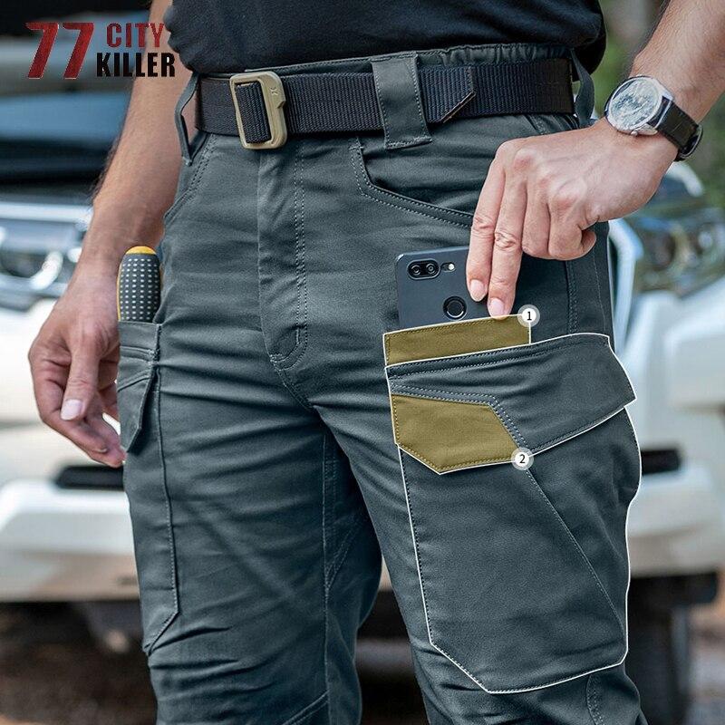 77City Killer Tactical Pants Men IX11 Cargo Military Elasticity Joggers Men Quality Multi-pocket Mens Trousers SWAT Men Pants