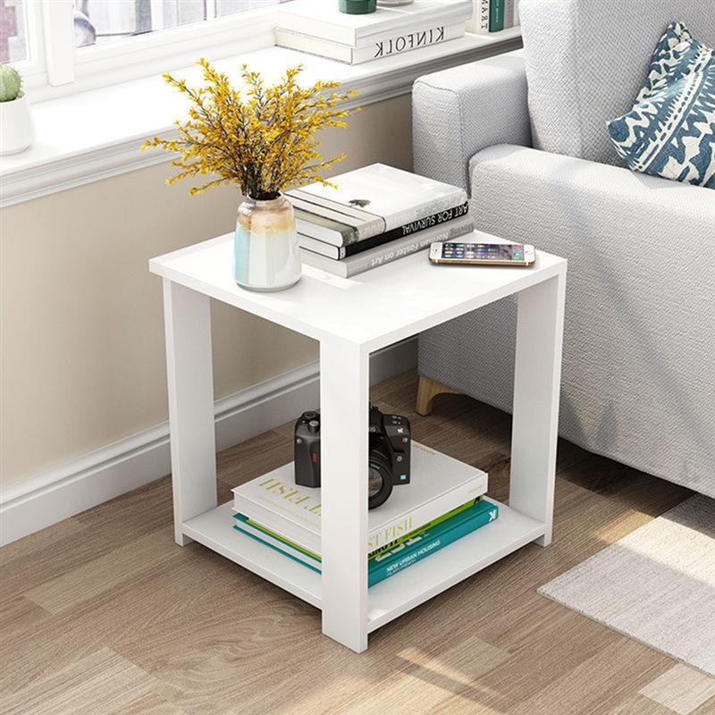 Simple Small Coffee Table Modern Side Table Living Room Square Desk Bedroom Nightstand (50x50x52)