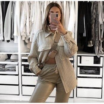 Women Blazer Za 2020 Office Lady Beige Plaid Print Singe Button Jacket Women Long Sleeve Casual Blazer Tops Mujer