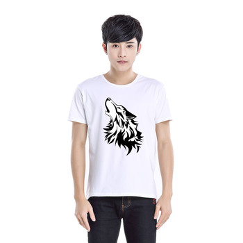 Summer Fashion Men's T Shirt Casual Wolf tribe Short Sleeve T Shirt Mens Clothing Trend Casual Slim Fit Hip-Hop Top Tees 6XL image