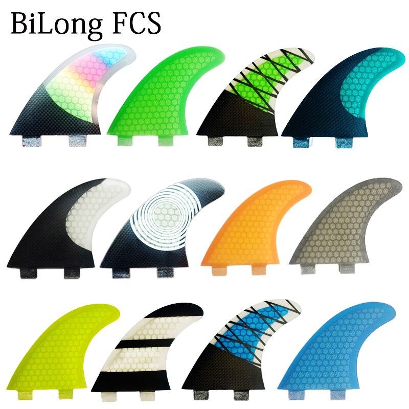 Плавник для серфинга BiLong FCS, плавник для серфинга с двойным трехплавником, набор для FCS box G5 size, Стекловолоконный сердечник с Карбоновым разме...