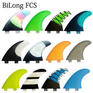 BiLong FCS FINS Surfboard Fins Twin Tri fin a Set for FCS box G5 size fiberglass Performance Core with carbon M size surf Fin