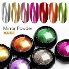 Красочная зеркальная пудра для нейл-арта розового, красного, золотого, серебряного, фиолетового, розового, металлического эффекта, пудра для нейл-арта, хромированная Пыль для УФ-гель-лака
