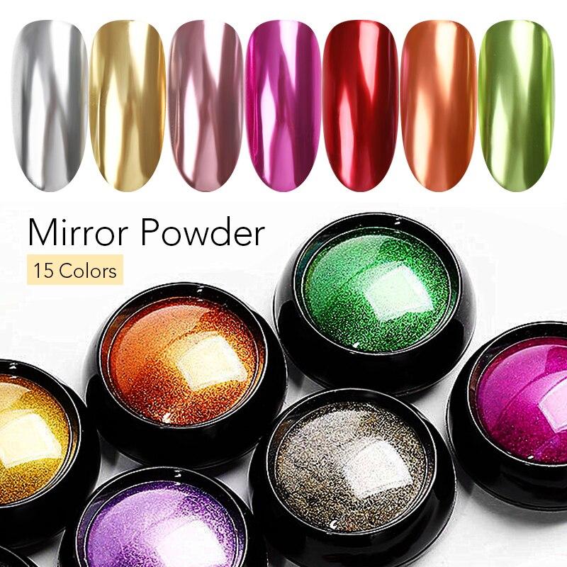 Colorful Nail Art Mirror Powder Rose Red Gold Silver Purple Pink Metal Effect Nail Art Powder Chrome Dust for UV Gel Polish