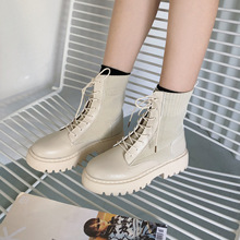 Women Boots Lace Up Flat Biker Combat Black Shoes Woman Botas Ladies Martin Female Summer  Ankle for Women2019