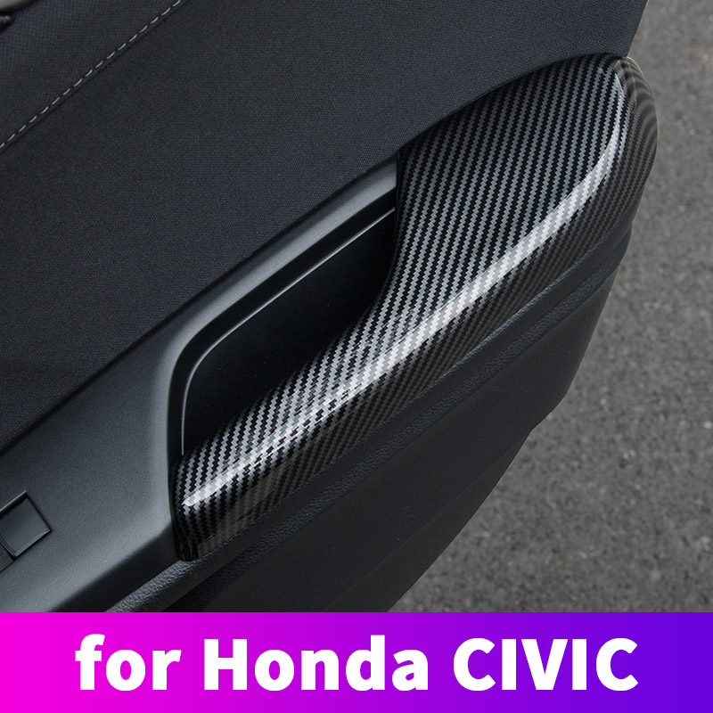 ABS Carbon Fiber Door Armrest Protective Cover With Hand Decoration Modification For Honda Civic 10th 2016 2017 2018 2019 2020