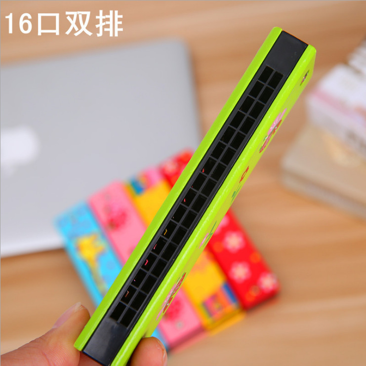 Cute Hamonica Children Harmonica Playing Baby Instrument 16 Mouth Double Row Cartoon Whistle Trumpet Music Small Toys