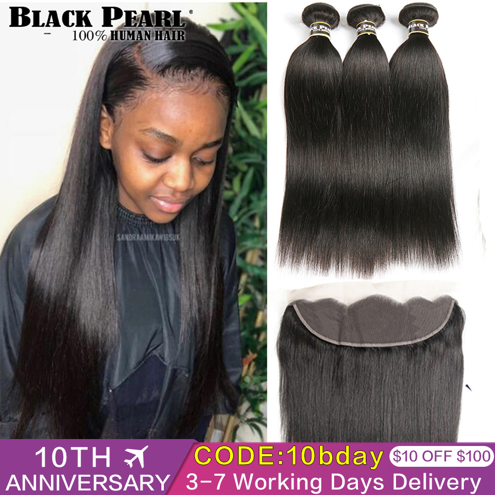 Black Pearl Brazilian Straight Hair Lace Frontal Closure With Bundles Non Remy Human Hair With Frontal 3 Bundles With Frontal