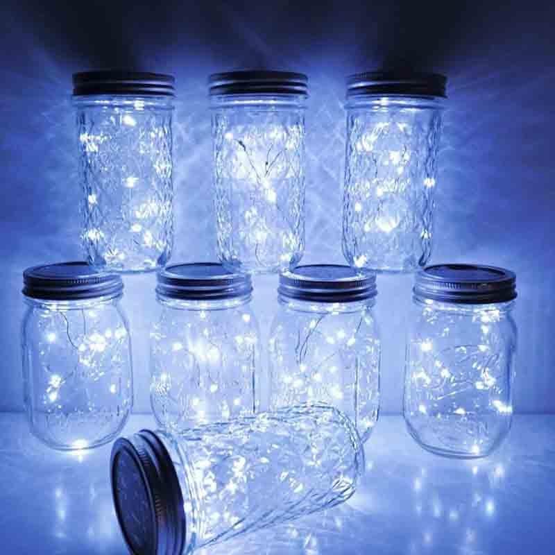 Solar Mason Jar Lid Lights,20 LED Waterproof Fairy Star Firefly String Lights with 6 Hangers (Jar Not Included), for Mason Jar G