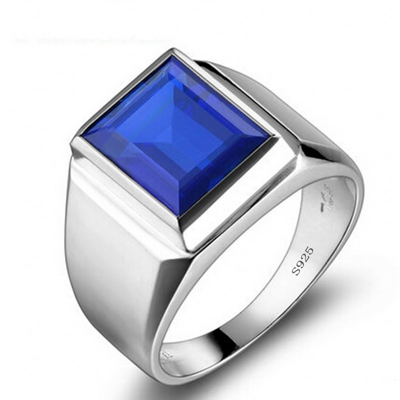 Wedding-Band-Rings Jewelry Sapphire-Ring 925-Sterling-Silver Male Real 90%Off Engagement