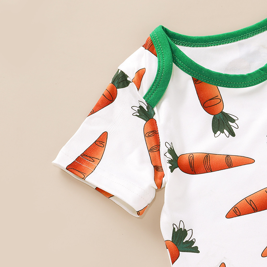 Newborn Baby Kid Boy Girl Easter Carrot Romper Jumpsuit Rabbit Ears Hat Outfits