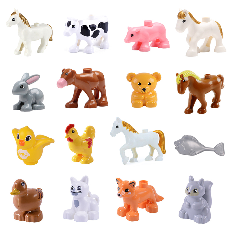 Animal Series Chicken horse cat cow Big Building Block Toys For Children Compatible With l Duplo Educational kid girl Gift