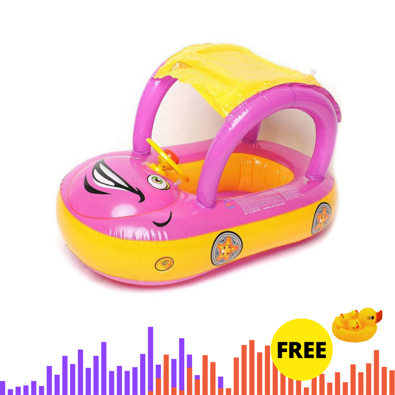 Inflatable Baby Pool Float Safety Car Shape Swimming Ring With Sun Canopy Sunshade Toys For Kids
