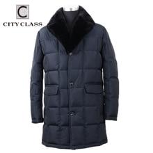 CITY CLASS Business Parkas Jacket Winter Hot Coats Mink Fur Collar Removable Super Warm New Fashion Casual Jackets Top