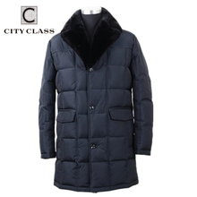 CITY CLASS Business Parkas chaqueta invierno abrigos calientes Cuello de piel de visón removible Super caliente nueva moda Casual chaquetas superior