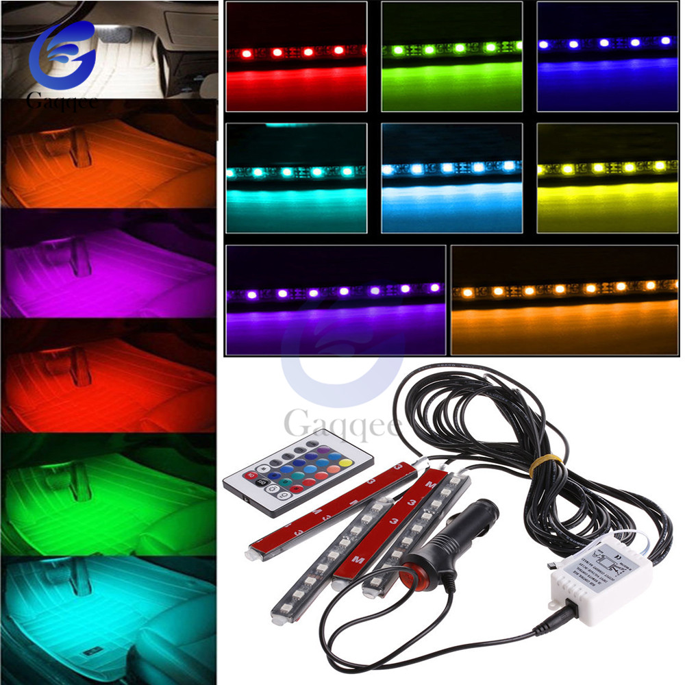 DC12V Auto Interni 4pcs 5050 9 LED Remote Control Cigarette Lighter Colorful RGB Car Interior Floor Light Strip For  Atmosphere