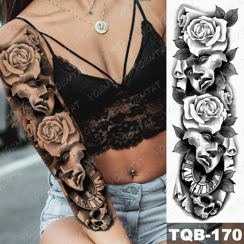 Large Arm Sleeve Tattoo Mask Rose Poker Waterproof Temporary Tatto Sticker Lion Crown Body Art Full Fake Tatoo Women Men