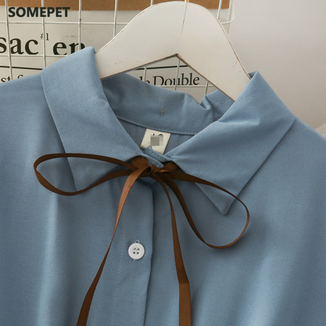 Dress Women Chiffon Bow Solid High Waist Turn-down Collar Preppy Style Popular Temperament Girls Summer Holiday 4