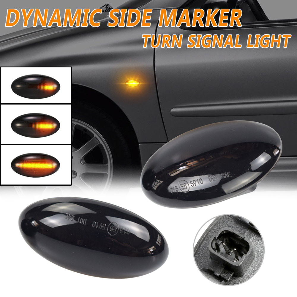 Светодиодный динамический Боковой габаритный фонарь поворота светильник мигающий индикатор для Peugeot 307 206 407 107 108 607 1007 Citroen C1 C2 C3 C4 C5 C6