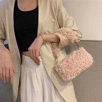 Niche Design Lamb Hair Furry Bag Plush Cute Little Bag Ladies Chic Handbags Candy Colors Purses and Handbags