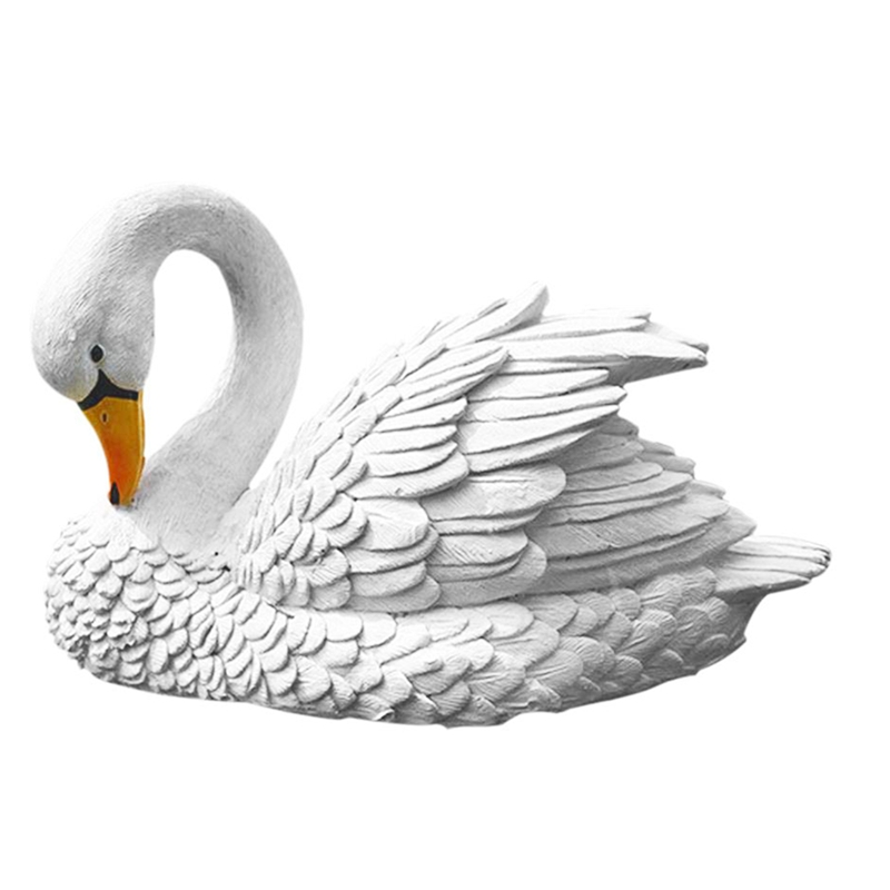 Simulation Animal Toy White Black Lifelike Swan Ornament Landscape Decor