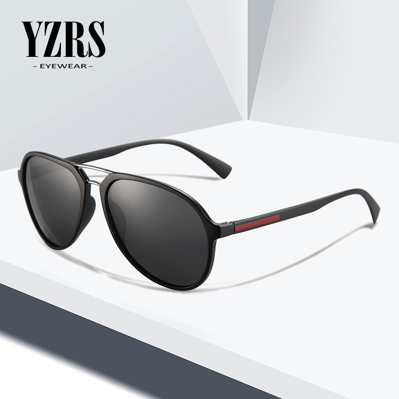 YZRS Brand Designer Polarized Sunglasses Men Retro Plastic Driving Double Bridge Pilot Shades Male Eyewear
