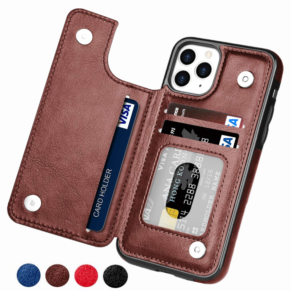 Retro PU Flip Leather Case For iPhone 12 Mini 11 Pro Max XS Multi Card Holder Phone Cases For iPhone X 6 6s 7 8 Plus SE 2 Cover 1