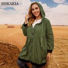 Coat Siskakia Coffee-Green Long for Women Autumn Winter Casual 5XL 4XL Solid Windbreaker